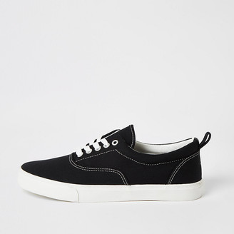 River Island Black stitch detail lace-up plimsoll trainers