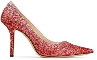 Jimmy Choo LOVE 85 Bubblegum Pink and Red Glitter Fabric Pointed Pumps