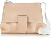 MM6 Maison Martin Margiela Nude Grainy Leather Shoulder Bag w/Canvas Strap