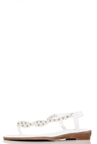Quiz White Pearl Diamante Trim Flat Sandal