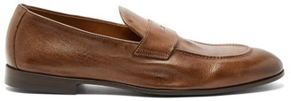 Brunello Cucinelli Vintage Leather Penny Loafers - Mens - Dark Brown
