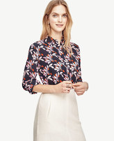 Ann Taylor Petite Swirling Floral Silk Blouse