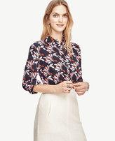 Ann Taylor Swirling Floral Silk Blouse