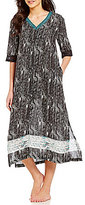 Kate Landry Casuals Lace-Trimmed Challis Patio Dress