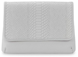 GiGi New York Elisa Python-Embossed Leather Clutch