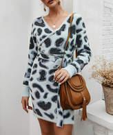 Suvimuga Women's Sweater Dresses Gray - Gray Leopard Wrap Dress - Women