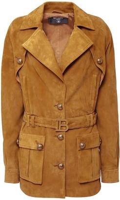 Balmain Suede Long Jacket W/ Belt