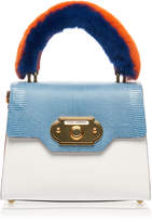Dolce & Gabbana Multicolor Leather Reptile and Fur Bag