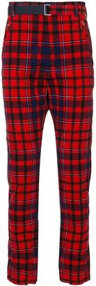 Sacai Check-Print Cotton Trousers