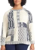 Chaps Plus Size Patchwork Crewneck Sweater