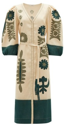 Vita Kin - Muscat Embroidered Balloon-sleeve Linen Dress - Green White