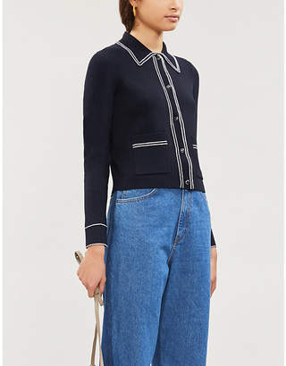 Sandro Sailor piped-trim knitted cardigan