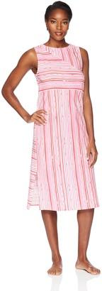 Jockey Women's Striped Cotton Jersey Long Gown Painted Fuchsia