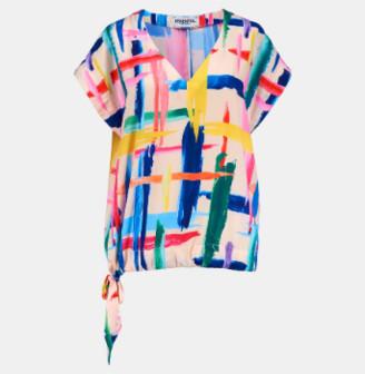 Essentiel Multicolored Graphic Striped Top - 36