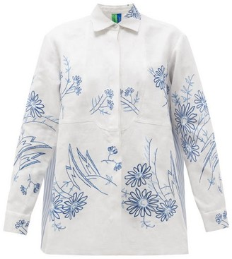 RIANNA + NINA Vintage Kendima Floral-embroidered Cotton Shirt - Multi