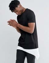 Asos Super Longline T-Shirt With Contrast Asymmetric Hem Extender In Black