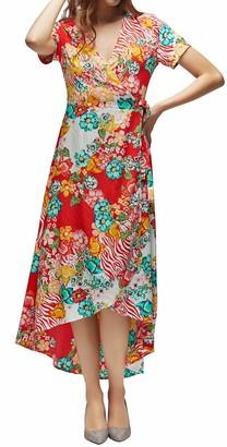 FanXinXing Women Tie-Waist Wrap Maxi Dress Short Sleeve V Neck Floral Flowy Front Slit High Low Summer Beach Party Dress S-Navy Blue