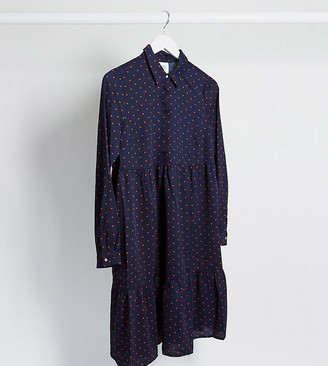 Mama Licious Mamalicious button front smock dress in navy