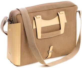 Bey-Berk Bey Berk Ivory Leather & Khaki Fabric Briefcase