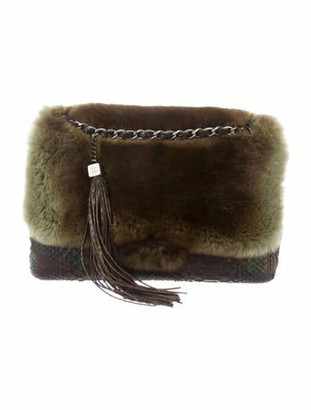 Chanel Fur-Trimmed Python Flap Bag Green