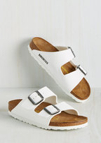Strappy Camper Sandal in White - Narrow in 38