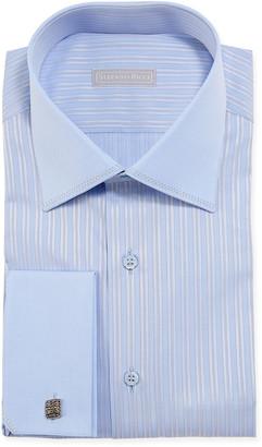 Stefano Ricci Men's Pinstriped Dress Shirt w/ Solid Trim