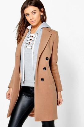 boohoo Petite Double Breasted Camel Duster Coat