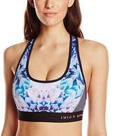 Juicy Couture Black Label Women's Sport Compression Prism Floral Zip Back Bra