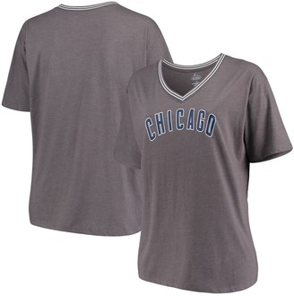 Majestic Chicago Cubs Women's Plus Size Rib V-Neck T-Shirt - Heathered Gray