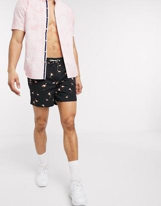 Jack and Jones Intelligence flamingo print shorts in black
