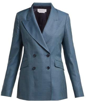 Gabriela Hearst Sophie Checked Double Breasted Wool Blend Blazer - Womens - Blue Multi