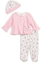 Little Me Infant Girl's Sweet Heart Cardigan, Footed Leggings & Hat Set