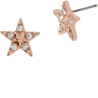 Betsey Johnson Rose Goldtone Crystal Star Stud Earrings