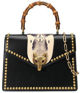 Gucci Broche Glossy Leather Top-Handle Bag