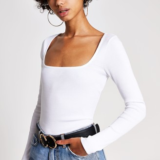 River Island Womens White ribbed square neck top