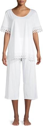 Hanro 2-Piece Lace-Trim Cotton Pajama Set