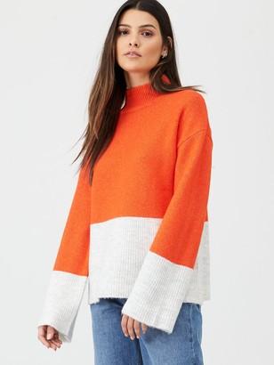 Very Colour Block Roll Neck Jumper - Orange