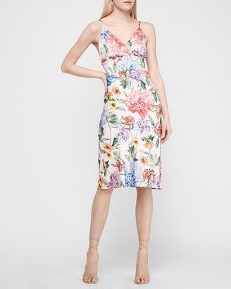 Express Satin Floral Wrap Front Midi Slip Dress