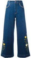 Stella McCartney floral patch flared jeans - women - Cotton/Spandex/Elastane - 25
