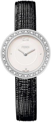 Fendi My Way Stainless Steel, Diamond & Leather-Strap Watch