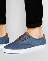 Asos Sneakers in Blue Chambray With Tan Trims