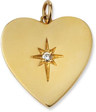 Siena Jewelry 14k Yellow Gold Heart Diamond Starburst Charm