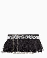 Charming charlie Feathered Rhinestone Clutch