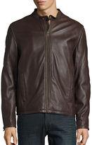 Cole Haan Leather Zip Front Moto Jacket
