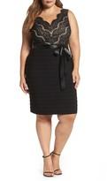 Marina Plus Size Women's Lace & Pleat Jersey Sheath Dress