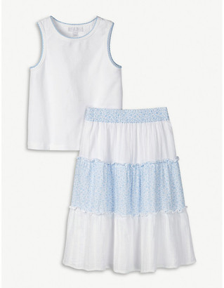 The Little White Company Tiered floral-print cotton skirt and top set 1-6 years
