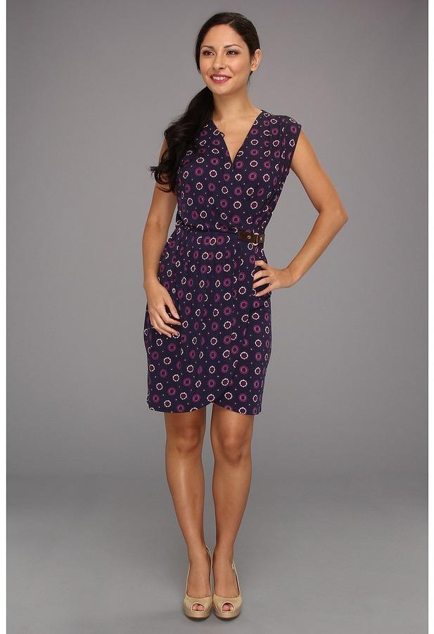 MICHAEL Michael Kors Petite Sleeveless Faux Wrap Dress (Pomegranate) - Apparel