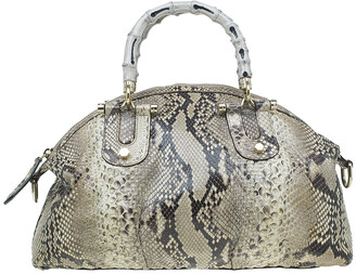 Gucci Beige Python Pop Bamboo Top Handle Bag