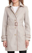 Lauren Ralph Lauren Women's Faux Leather Trim Trench Coat