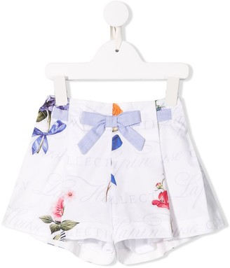 Lapin House Knot-Belt Floral Skirt